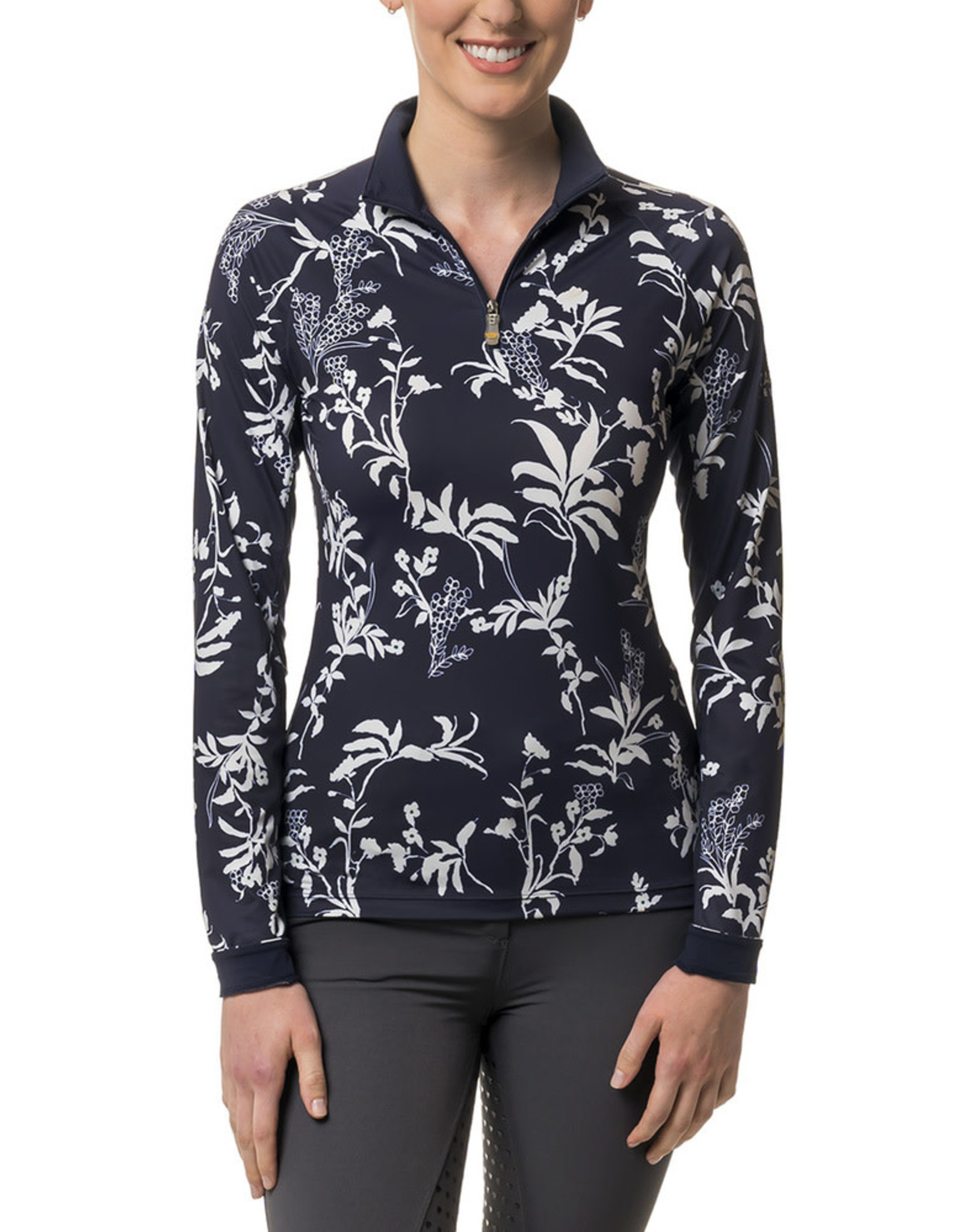 Kastel Sun Shirt Long Sleeve Raglan 1/4 Zip Navy and White Floral