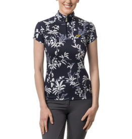 Kastel Sun Shirt Cap Sleeve Navy and White All -Over Floral
