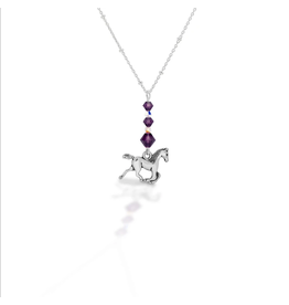 Kasaro Designs Necklace Beaded Horse Sterling Chain Amethyst