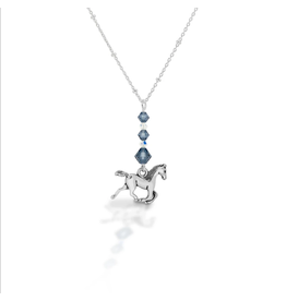 Kasaro Designs Necklace Beaded Horse Sterling Chain Bluestone