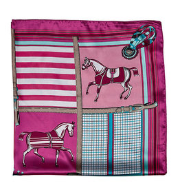 Silky Scarf Horses in Blankets Pink