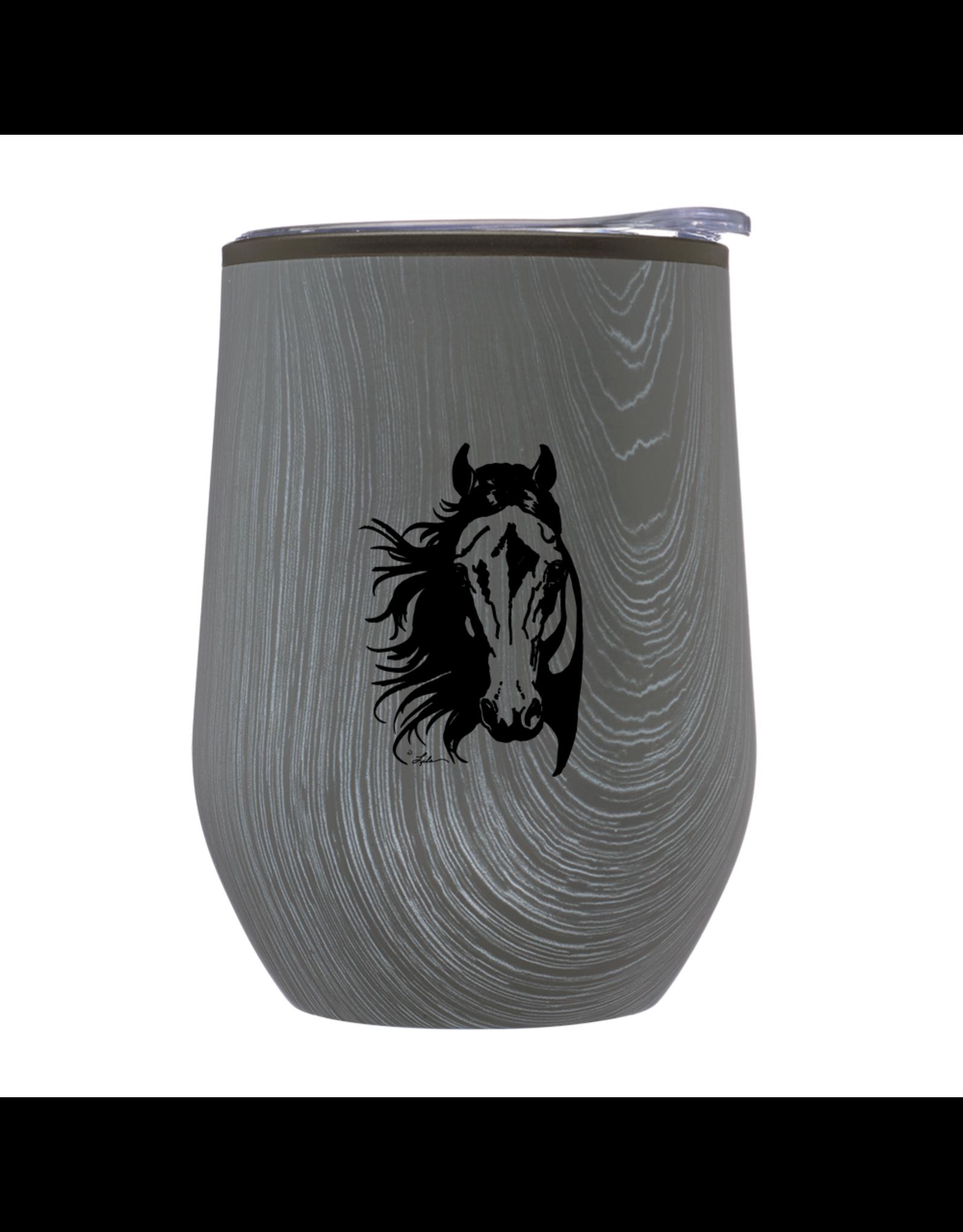"Wine Tumbler 12oz Stainless Steel ""Lila"" Horse Head Rustic Grey"