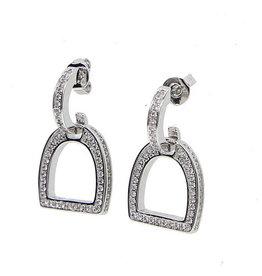 Earrings Clear Cubic Zircona English Stirrup