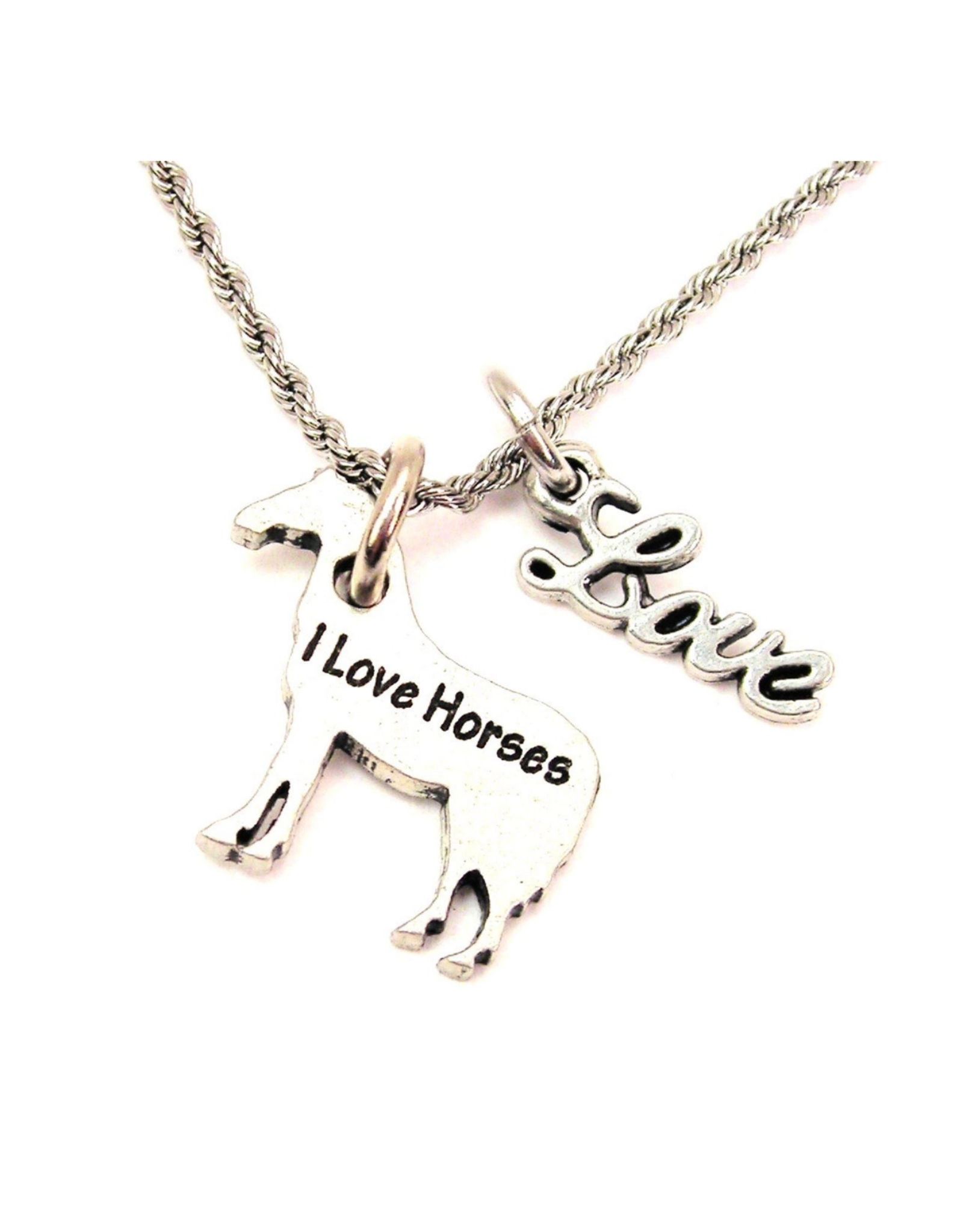 """Necklace I Love Horses 20"""" Rope With Love Accent Equestrian"""
