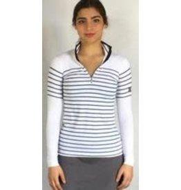70degrees.life French Stripe Performance Sun Shirt in Navy sz Med