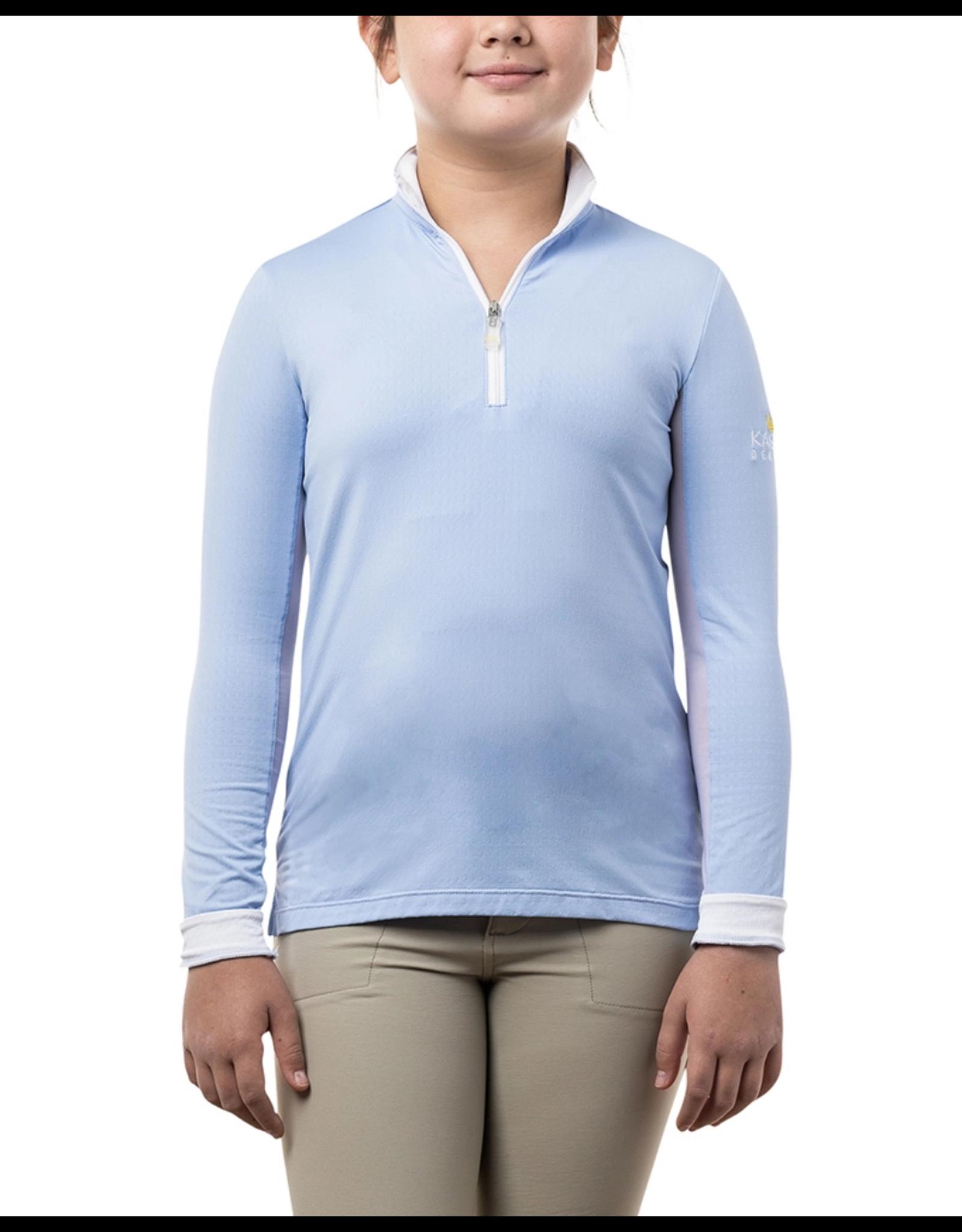 Kastel Sun Shirt Long Sleeve 1/4 Zip Light Blue and White Kids