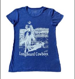 Long Board Cowboys Women's Wave Check Vintage Jersey Tee