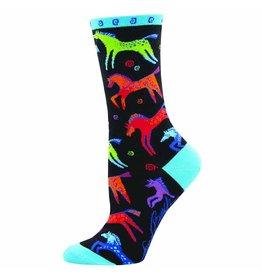 Black Dancing Horses socks - adult