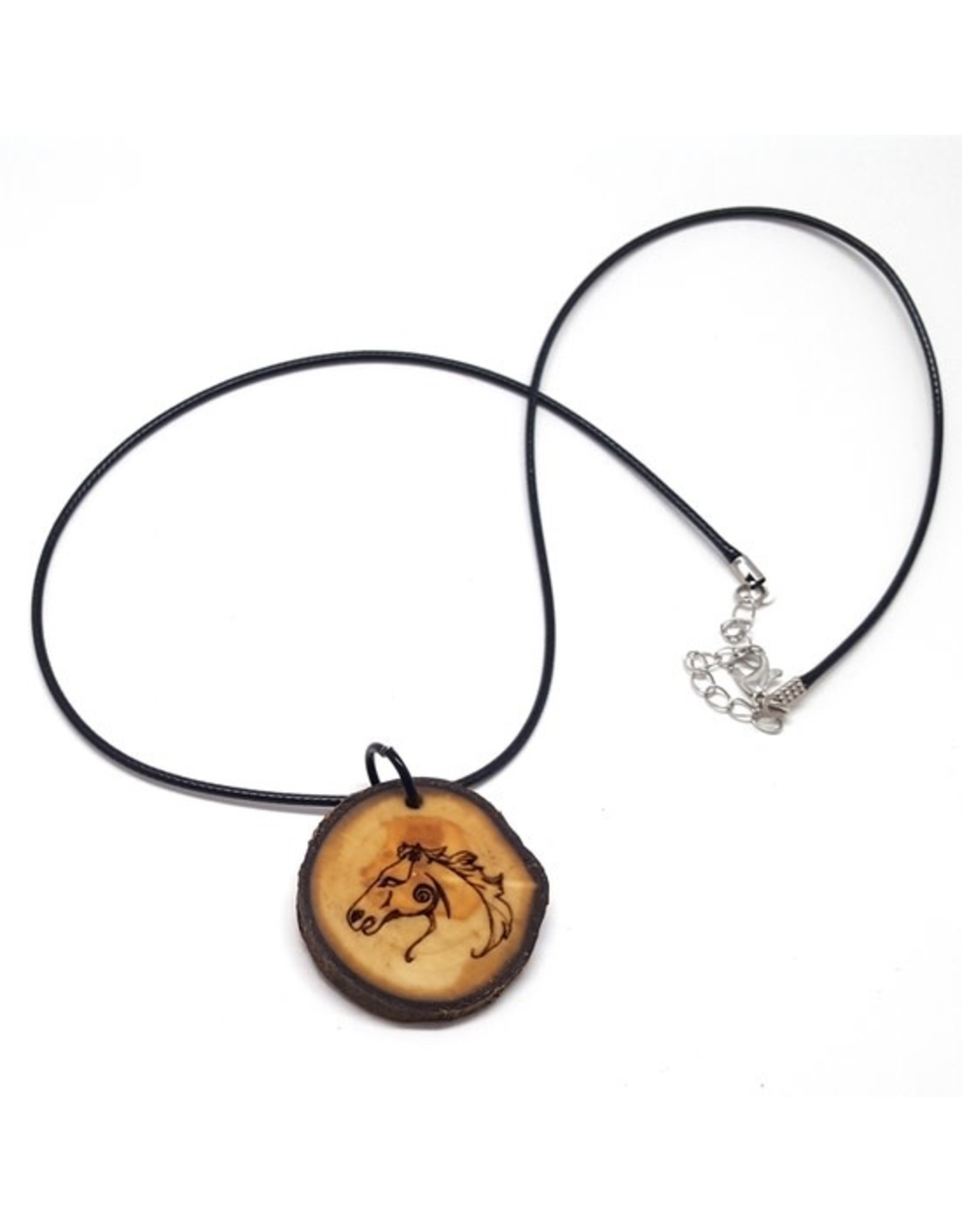 Celtic Horse Wooden Pendant Necklace, Animal Symbol