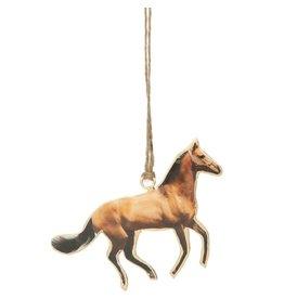 Metal horse ornament, gold trim 4.75 in