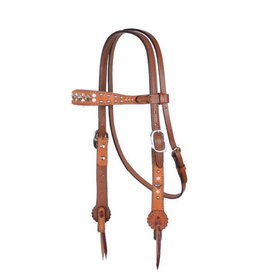 """Alamo Saddlery Headstall Contour Browband 1 1/2"""" Rough Out Toast Leather w/ Crystals & Spots"""