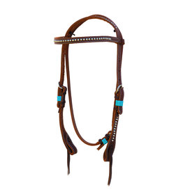 """Alamo Saddlery Straight 1/2"""" Browband Headstall Oiled Harness Leather w/ Spots"""