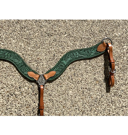 """Alamo Saddlery Wave Breast Collar 2 1/2"""" Rough Out Turquoise & Golden Leather Floral Tooled"""