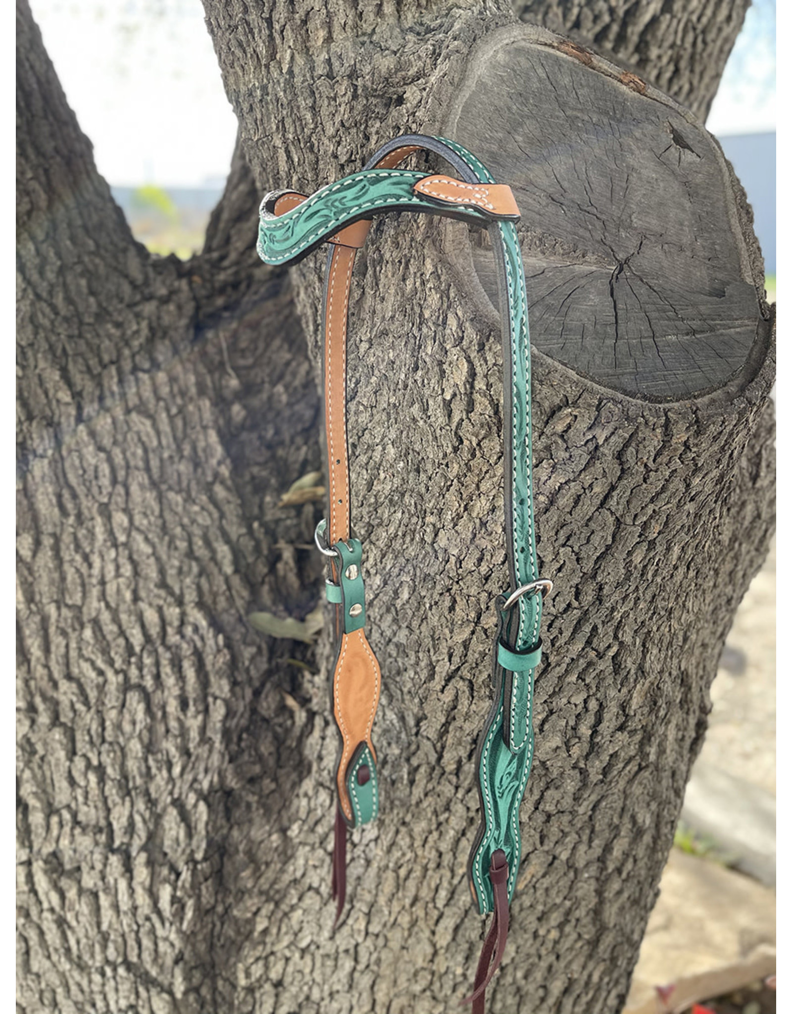 """Alamo Saddlery Wave One Ear 5/8"""" Headstall Rough Out Turquoise and Golden Leather Floral"""