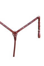 "Alamo Saddlery Straight 1"" Breast Collar Toast Leather w/ Stones & Spots"