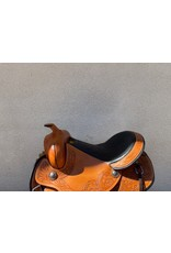 """New Western Saddle Grewal 17"""" Wide Tree Round Skirt with Breastcollar, Headstall, and Split Reins"""