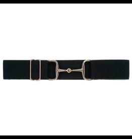"""Ellany Belt 1.5"""" Gold Snaffle Elastic Black"""