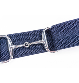 "Ellany Belt 1.5"" Silver Snaffle Elastic Navy Hampton"