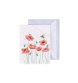 Wrendale Designs Mini-Carte - Coquelicot et l'abeille