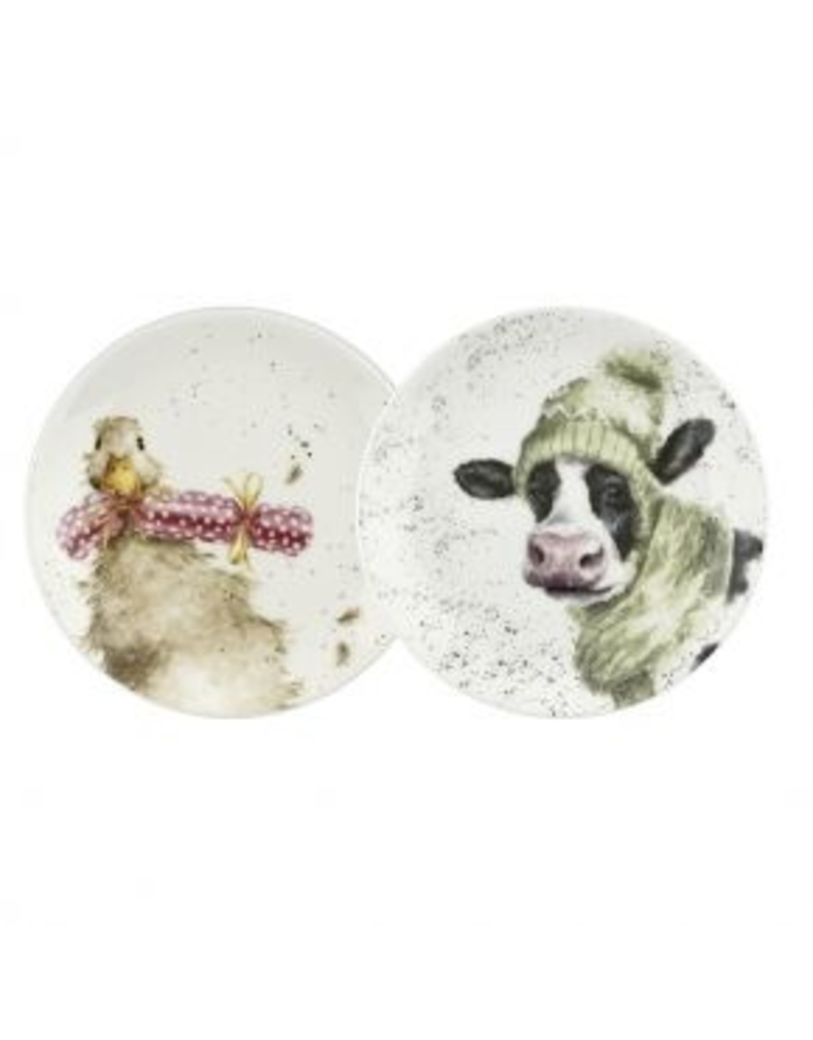 """Wrendale Designs Plates 6.5"""" - Cow and Duck"""