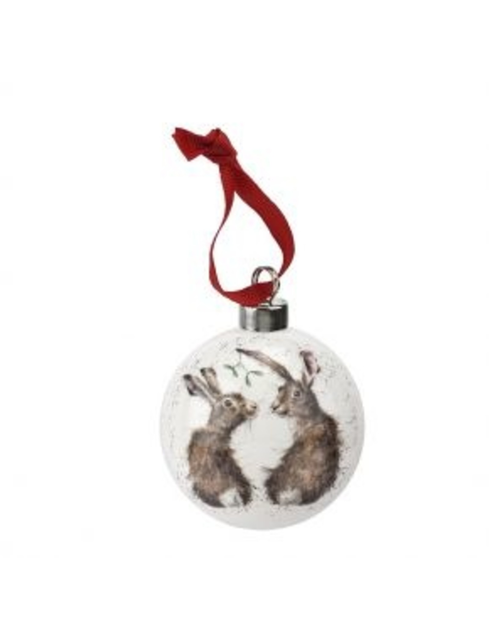"Wrendale Designs Christmas baulbe 2.75"" - All I want for Christmas hares"