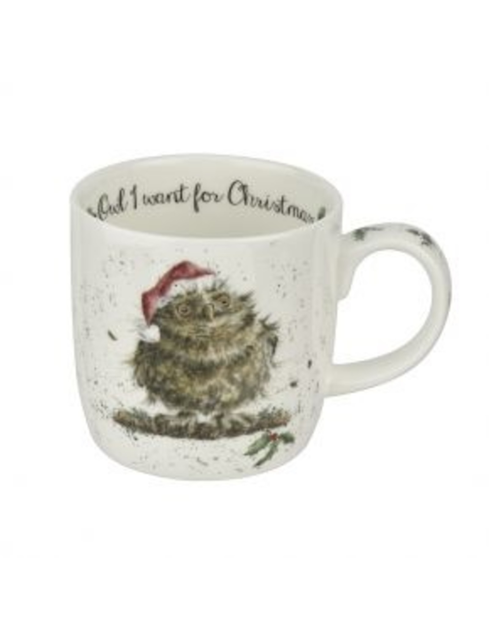 Wrendale Designs Tasse - 11 oz Chouette que je veux pour Noël