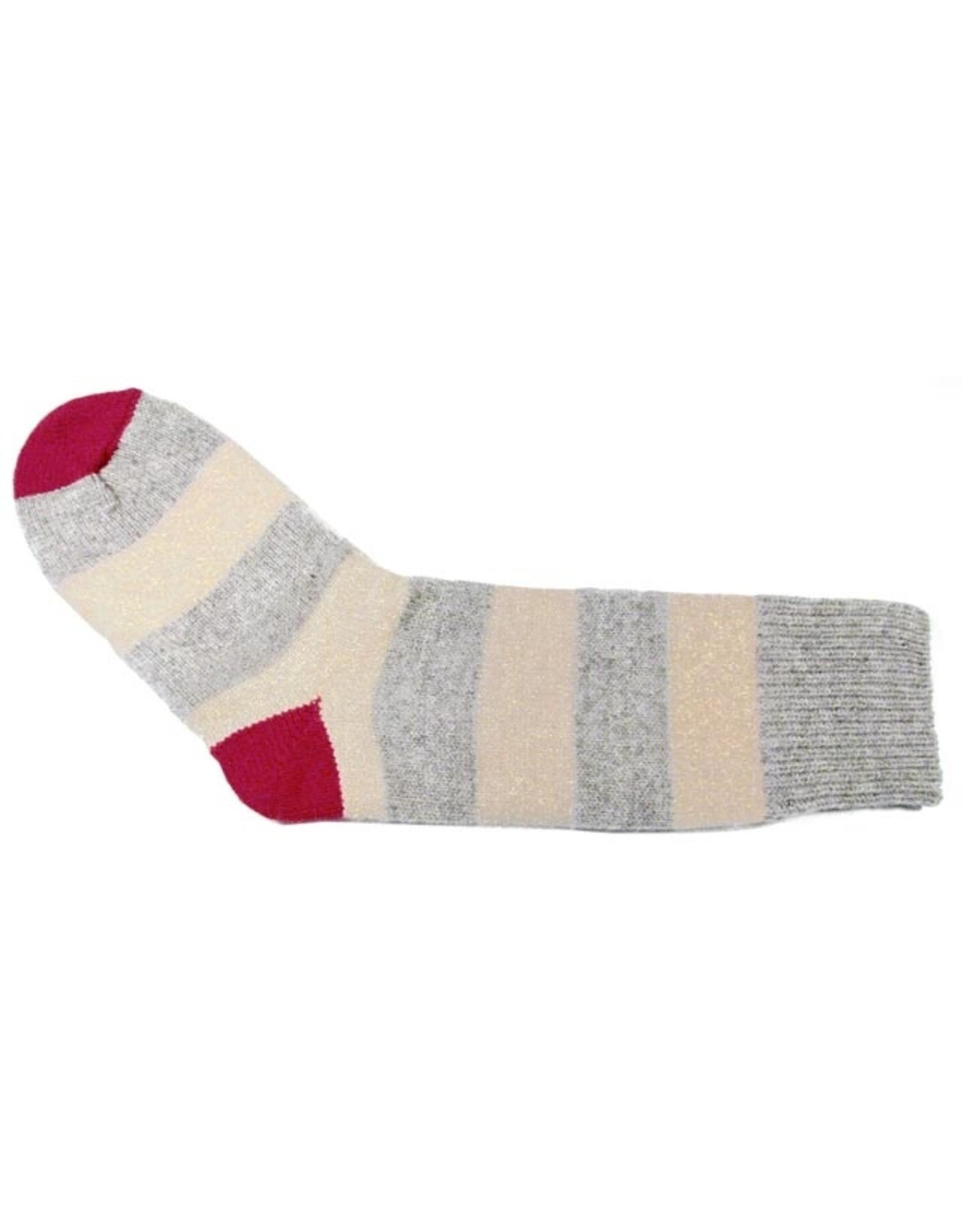 Bas de laine & mot coquin - Bas Le gentil (Gris/Beige et Rouge)