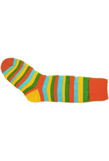 Bas de laine & mot coquin - Socks The Clown (Orange/Green, Yellow and Blue)