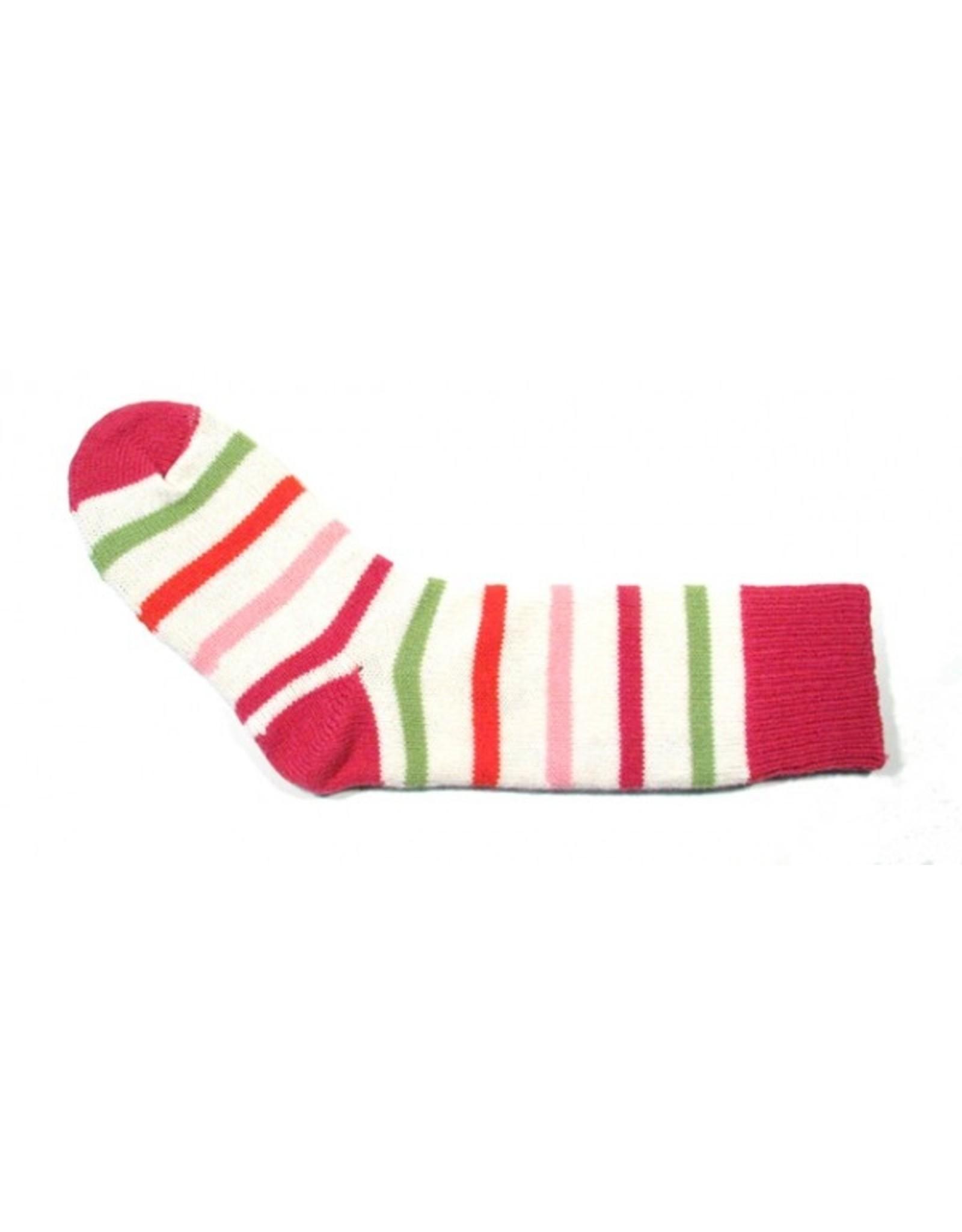 Bas de laine & mot coquin - Bas L'artiste (Blanc/Rose, Rouge et Vert)