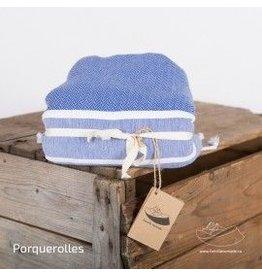 Famille Nomade Fouta - Tissage chevron - XL - Porquerolles (Bleu/Blanc)