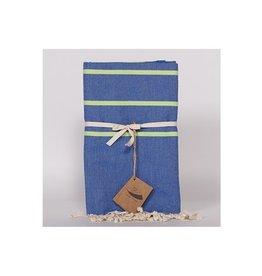 Famille Nomade Fouta - Tissage Plat - L - Sora (Bleu/Vert)