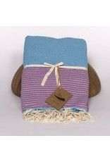 Famille Nomade Fouta - Tissage nid d'abeille - L - turquoise rayé rose