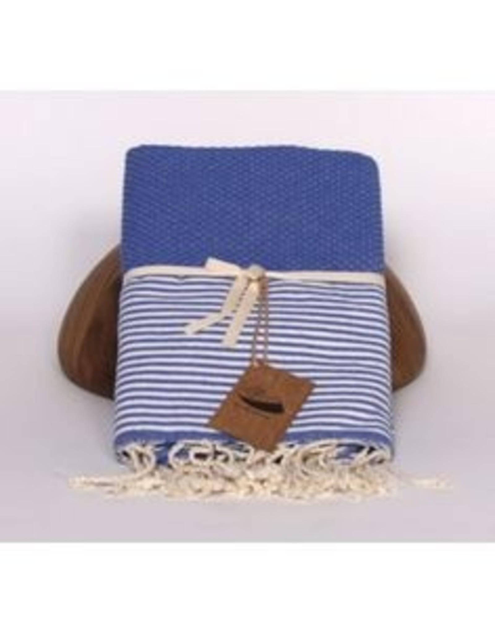 Famille Nomade Fouta - Honeycomb - L - Nava (Blue / White Stripes)