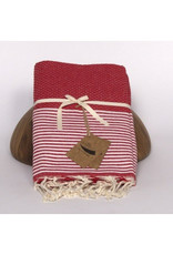 Famille Nomade Fouta - Honeycomb - L - Meika (Red / Blue Stripes)