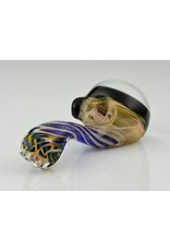 talent glass works Black, White, orange, red and blue Wig wag reversal window with pattern dicro lay back sherlock
