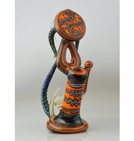 Icke Ickie Worked Fire Large Sherlock Bub With Donut Under Mouthpiece And Facet Marble On Base