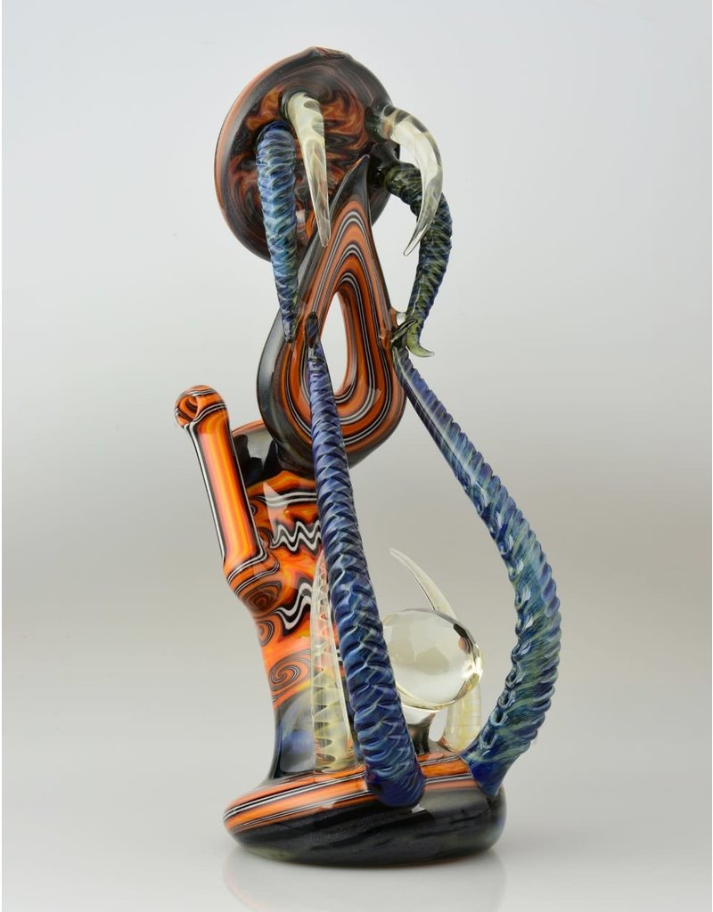 Icke Ickie Worked Fire LRG Sherlock Bub With Donut Under Mouthpiece And Facet Marble On Base