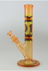 Dawnk Glass (Lester) Transparent Orange Mini Straight Tube With UV Reversals and 2 hole Down Stem