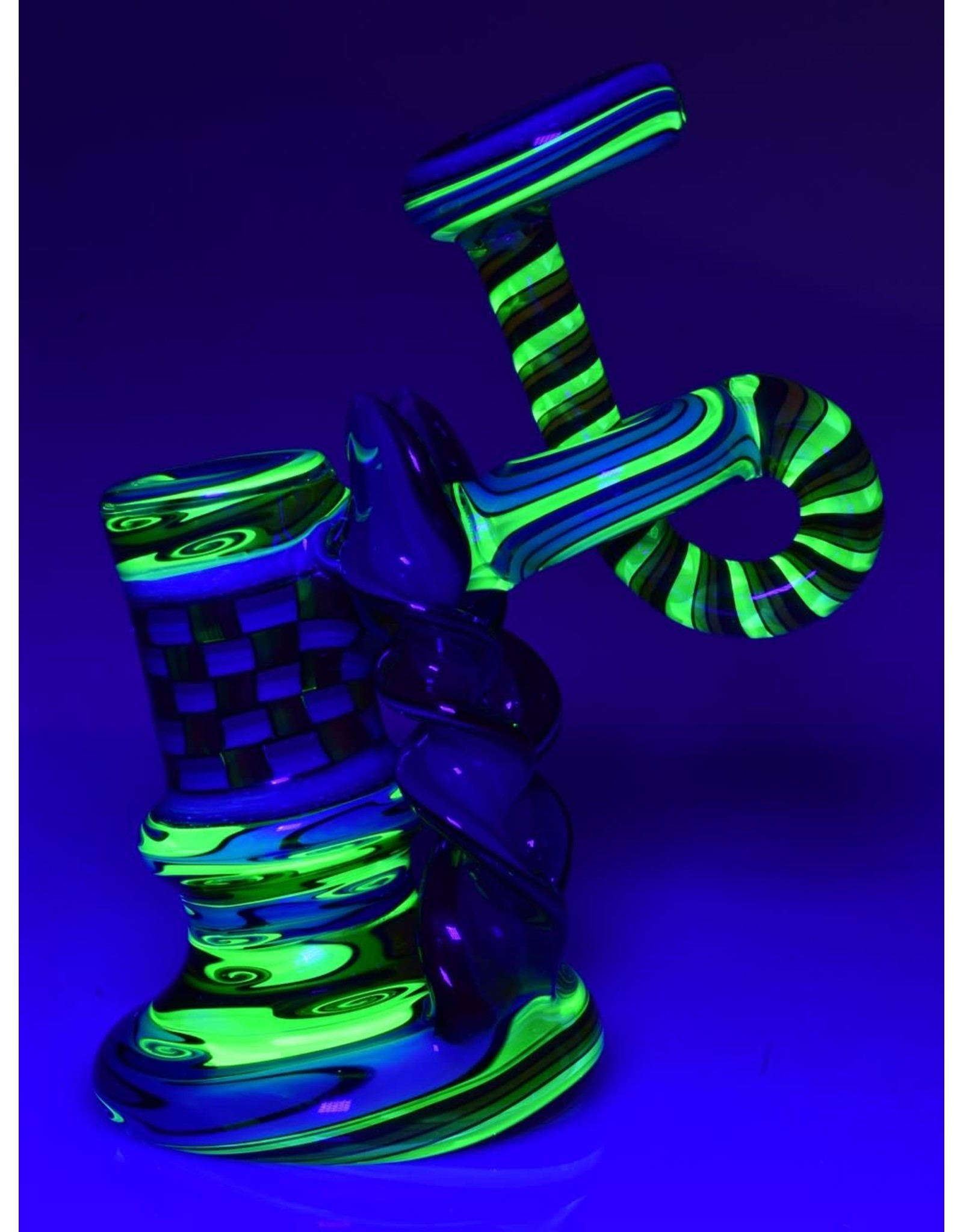 Jeff Green Penetrating Donut Worked Bubbler With 14mm Recessed Joint