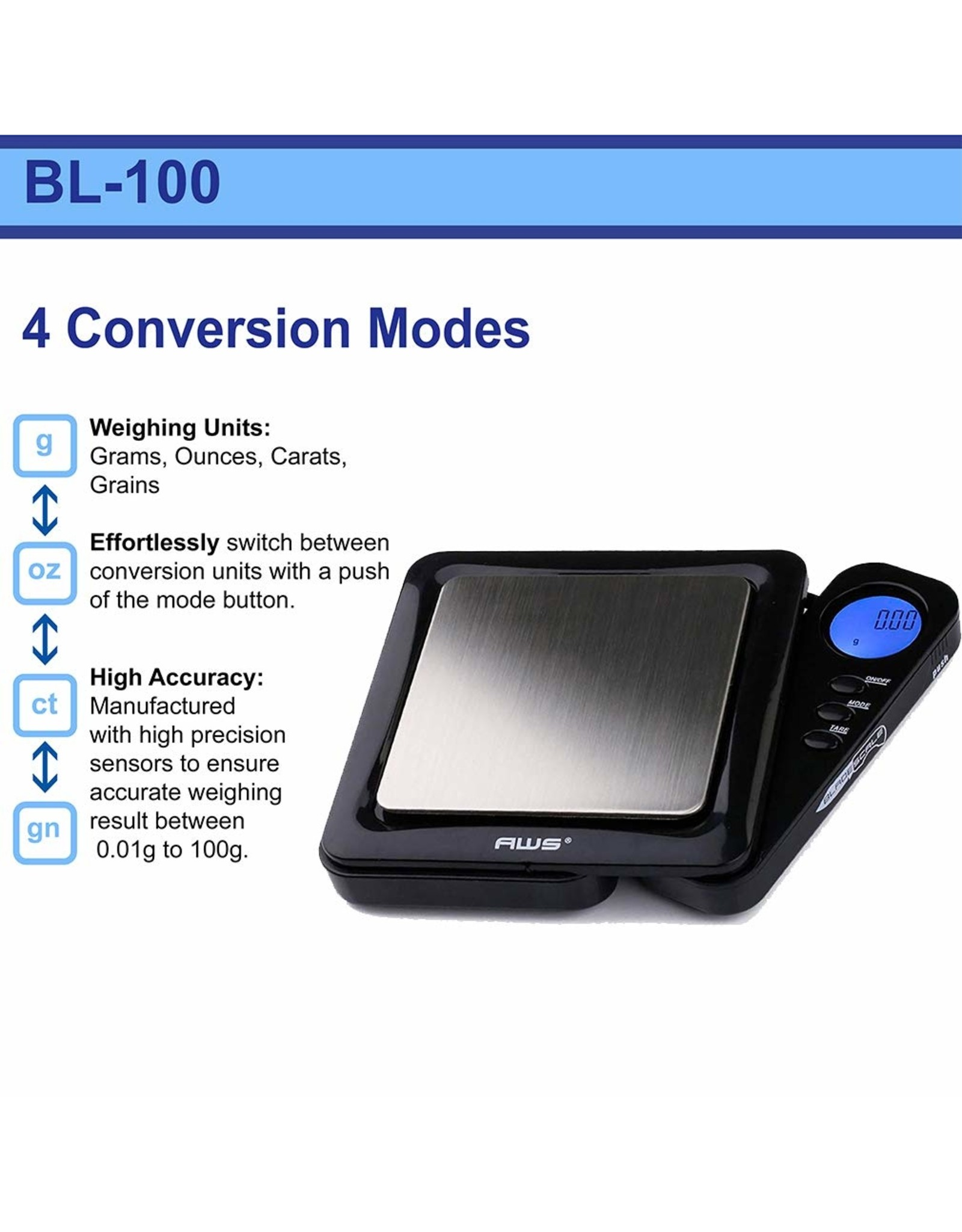 American Weigh Blade 100 Digital Scale 100g x 0.01g Black