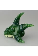 salt glass Salt Glass Green Creature With Teeth And  Three Spikes
