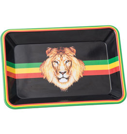 "Mini Metal Rolling Tray - 7""x5"" - Rasta Lion"