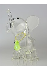 Large Clear Elephant With Chain And Pendant
