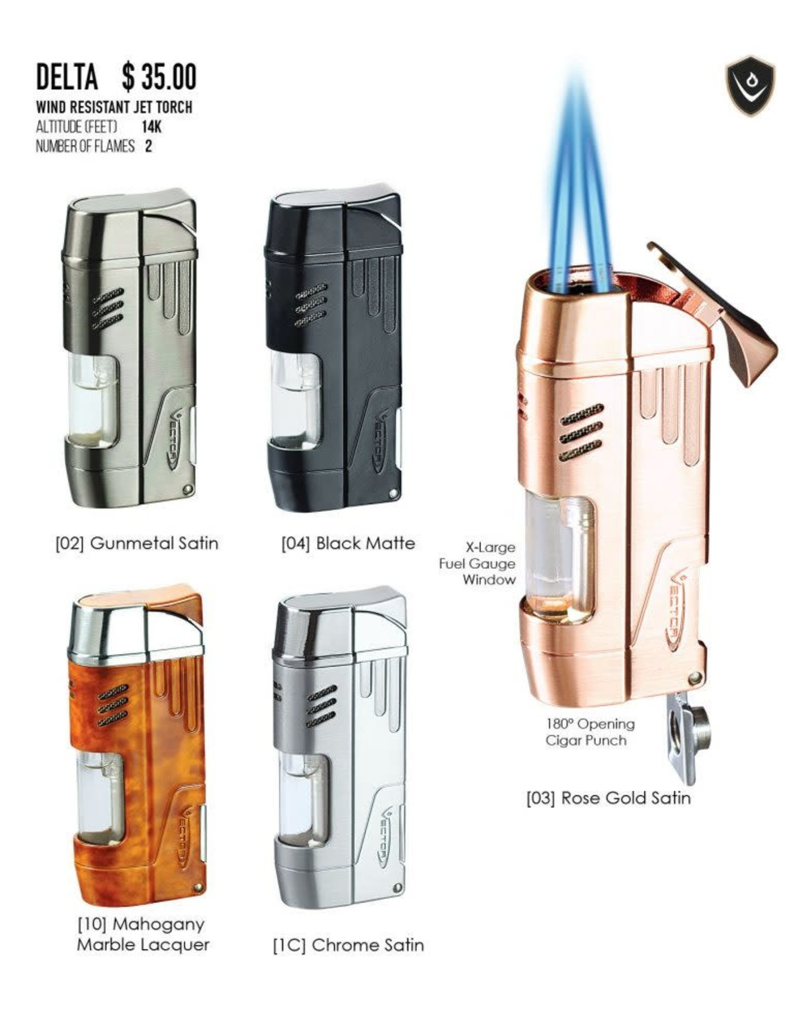 Vector Vector Torch Lighter Delta Chrome Satin