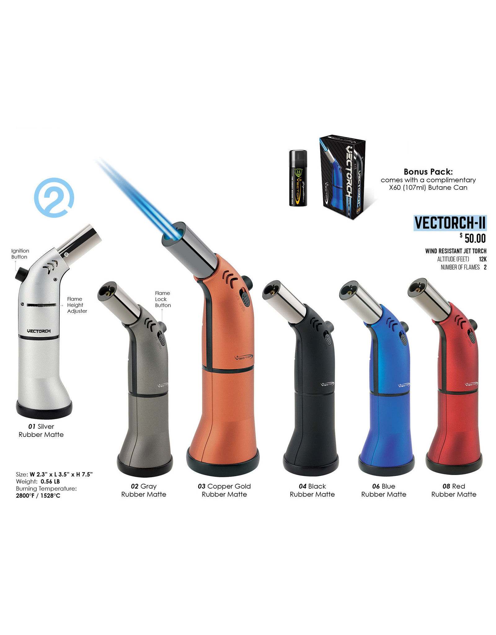 Vector Vector Vectorch Double Flame Torch Black
