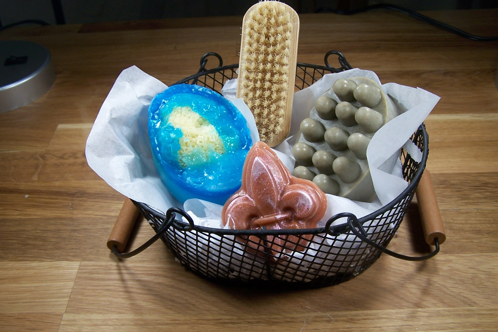 sea sponge, scrub bar, sm soap, brush, basket
