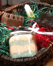 Gift Spa Basket (small): African Black soap, Fix it! Massager Bar & Massage in a Bottle Fizzy Bath Salts