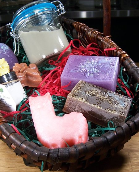 Gift Basket- Deluxe Spa: Bath Bar, Massager Bar, Miracle Mud, Bath Fizzy Salts, Foot Soak, & Nail Brush & Body Cream