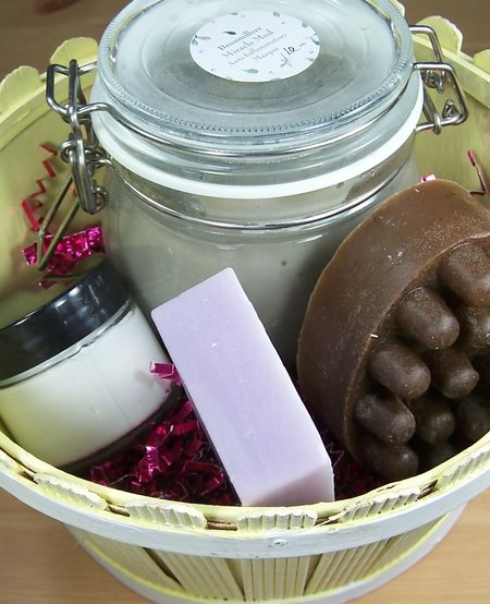 Body Care Basket: Miracle Mud, Bath Bar, Massager Bar, and Body Cream