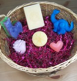 Body Care Basket: 3 Bath/Novelty Bars and 3 Guest Soaps